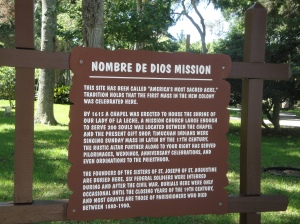 Sign at Mission de Los Nombres in St. Augustine, Florida