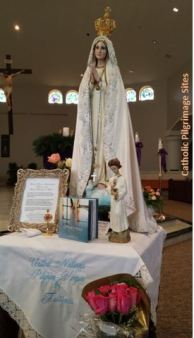 UN International Pilgrim Statue Our Lady of Fatima & Relics of Jacinta  Francisco Marto